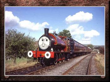 Tren con locomotora de vapor y diseño como tren infantil ..