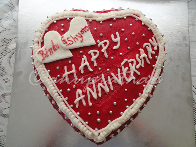 Anu prathap s kitchen red and white heart cake for a wedding