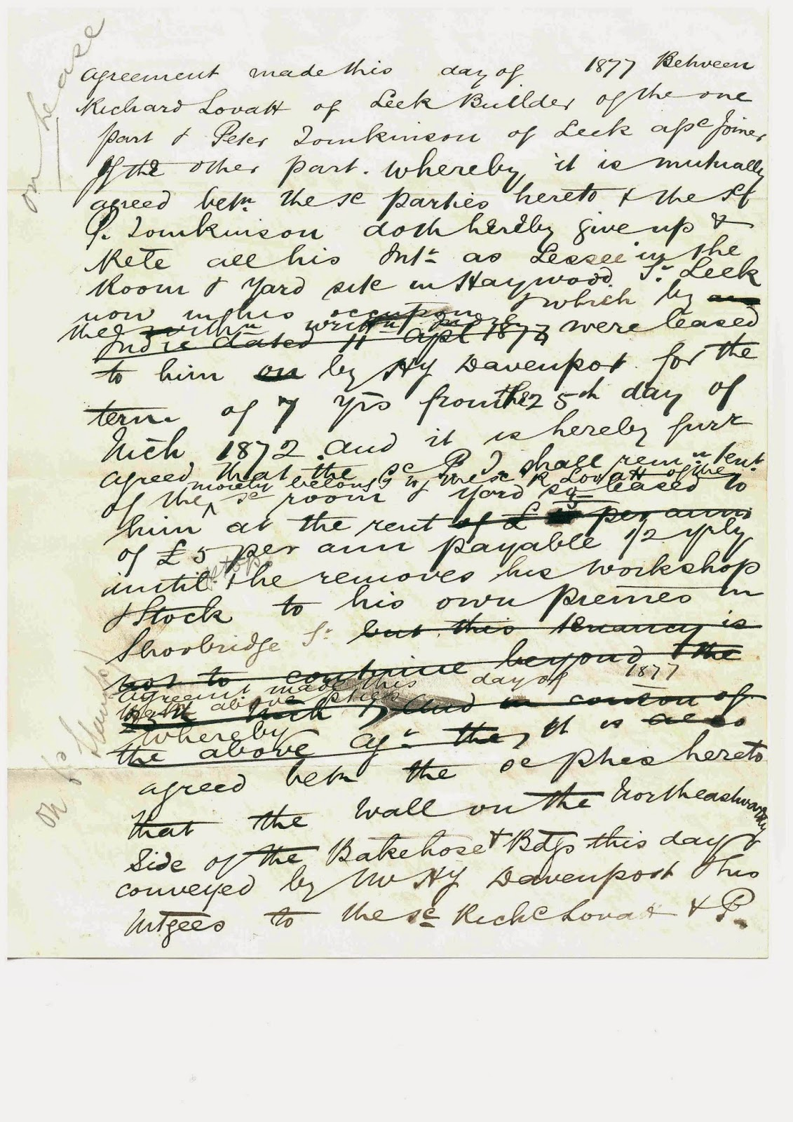 Draft Agreement Between Richard Lovatt & Peter Tomkinson, Haywood Street, Leek, 1877, Page 1