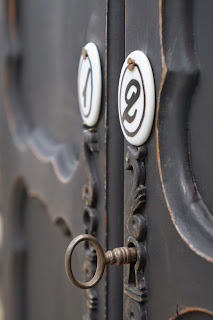 meuble-deux-portes-patiné-noir-médaillon-porcelaine-vintage-brocante-chic