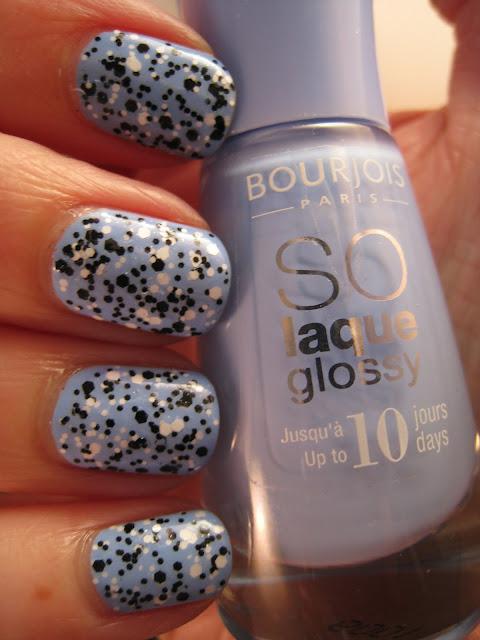 Loreal-Confetti-black-white-glitter-blue-Bourjois-nail-polish