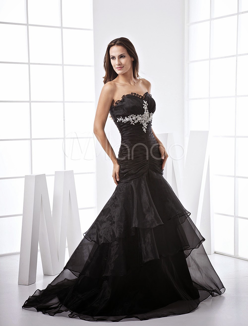 Black Satin And Organza Mermaid Prom Dress