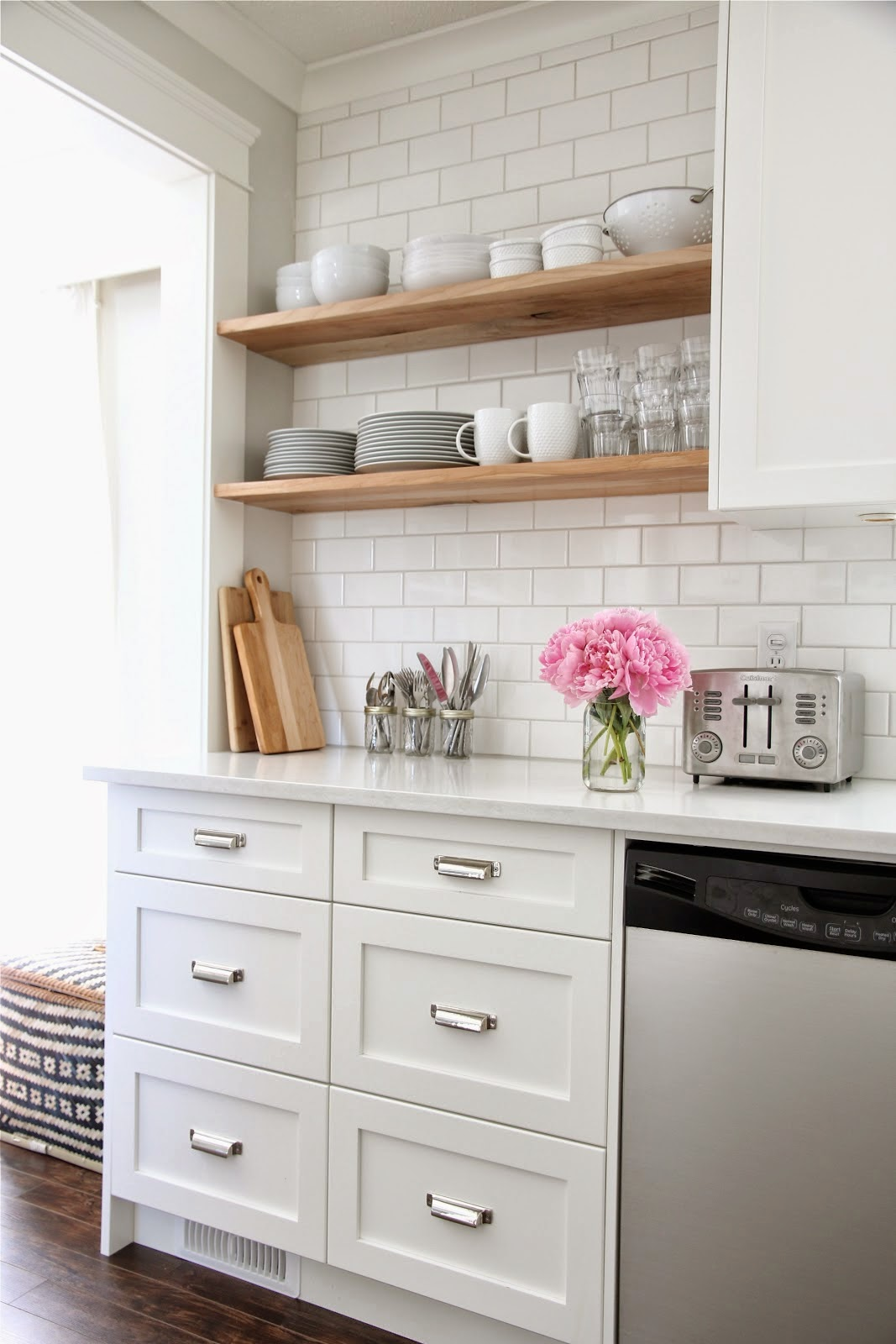 White Subway Tile Kitchen www.olivelaneinteriors.com