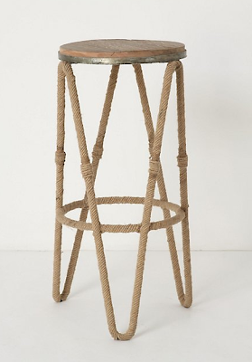 rustic barstool with rope detailing