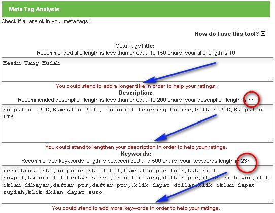 Meta Tag Analyzer : Meta tag analysis dian motor cell