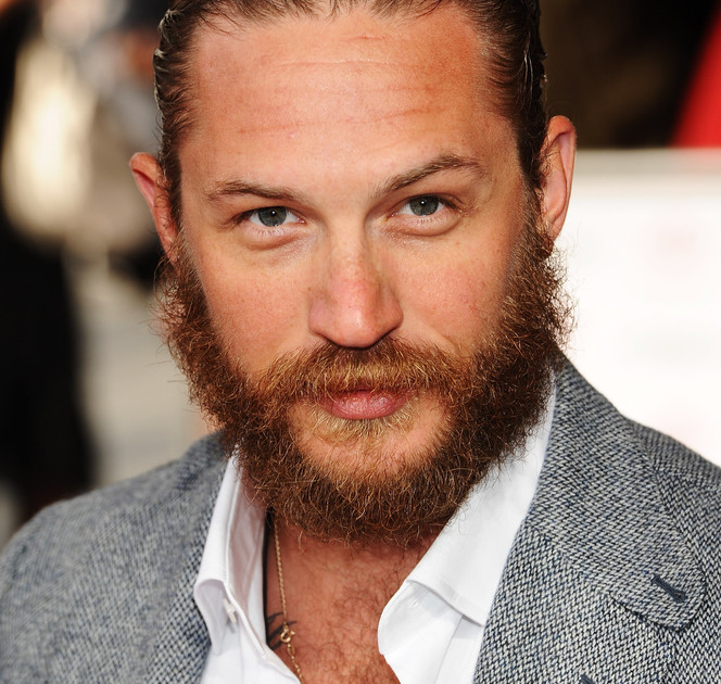 handsome tom hardy with beard smiling