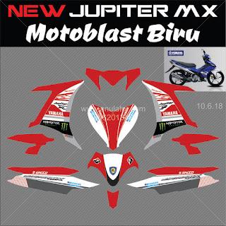 Sticker striping motor stiker Yamaha Jupiter MX 135 Motoblast Merah 2