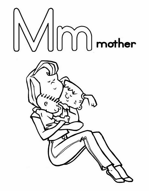 Printable Coloring pages for letter M , Examples are Monkey , Mouse  title=
