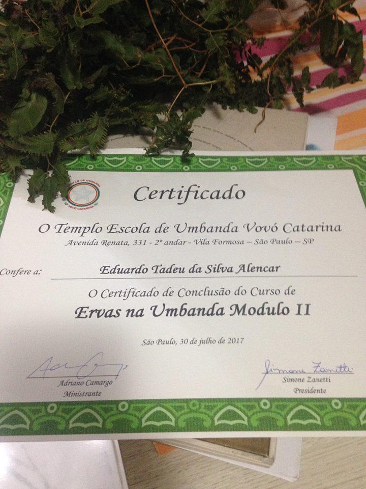 Certificado: Curso de ervas (módulo II)