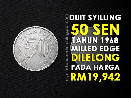 Sekeping Duit Syiling 50 Sen Dilelong Pada Harga RM19 942