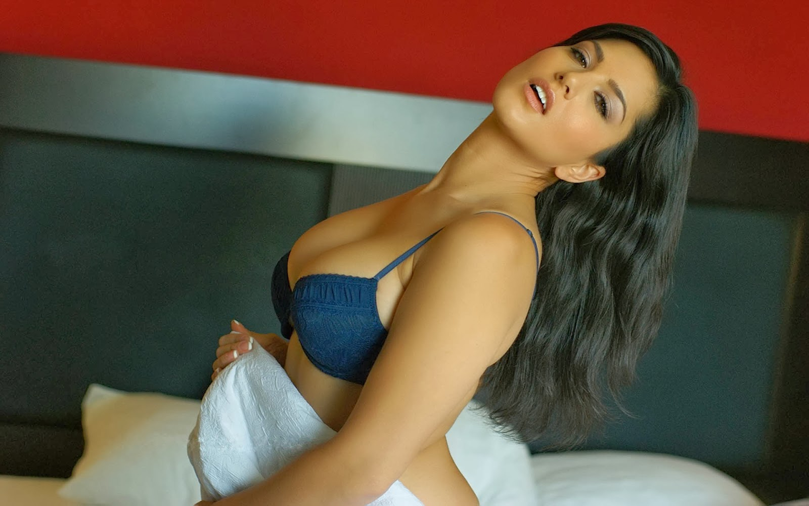 Sunny Leone blue bra Wallpaper image pictures photos