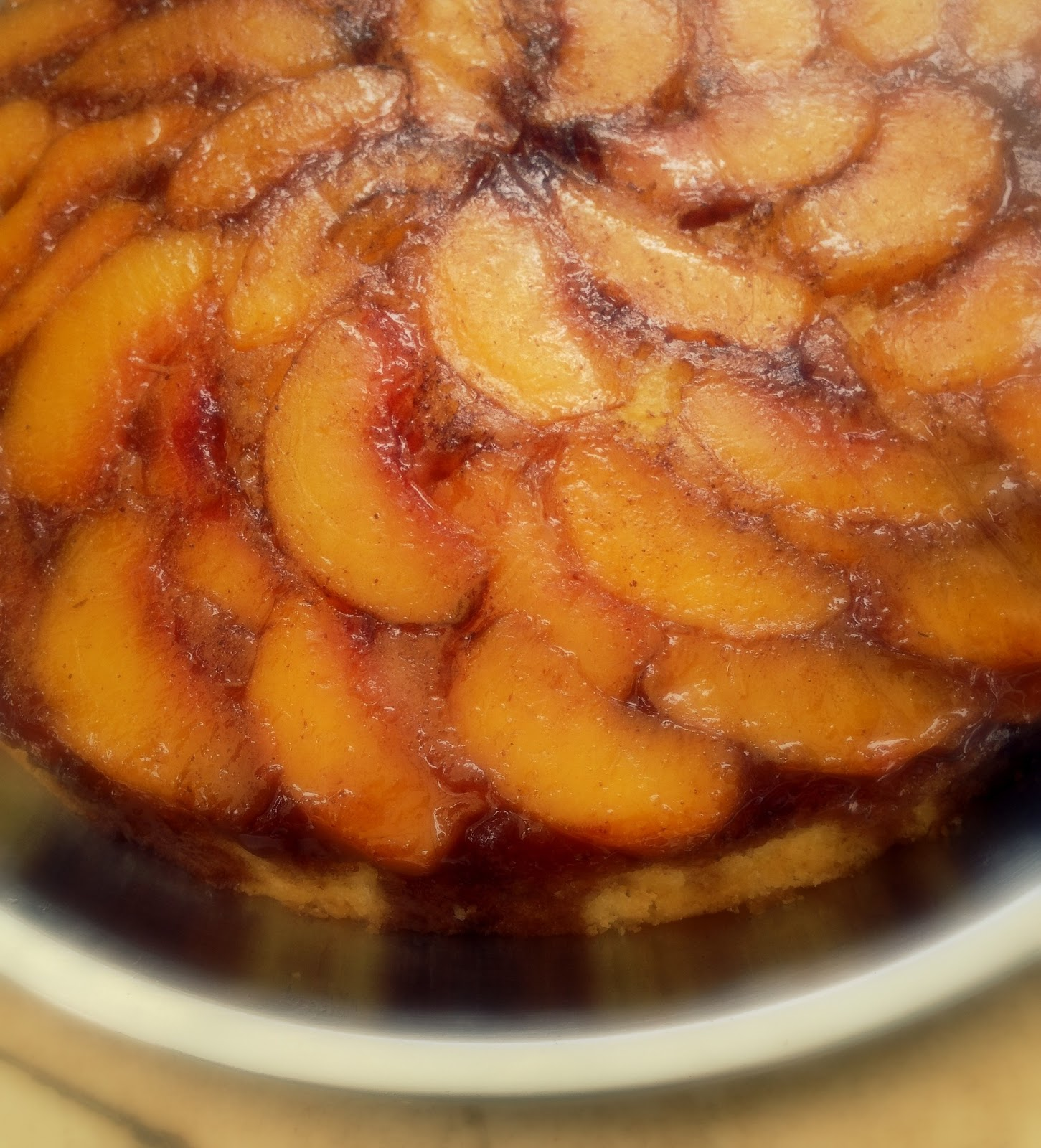 Chatkhor: Peach Upside Down Cake : My first upside down cake