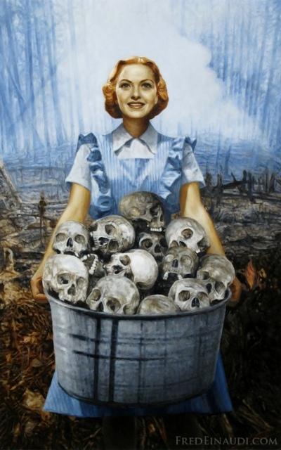 Den glade patriot har samlet fjendens kranier - maleri i stil med krigs-propaganda plakater