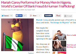 A Must Read ; Radar Online Blasts Mariah Carey for Performing in Nigeria.