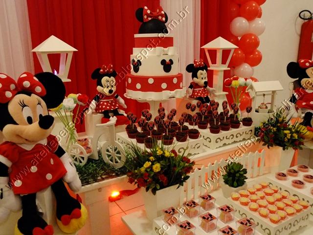 Decoração de festa infantil Minnie Vermelha  Ateliê Personalizarte