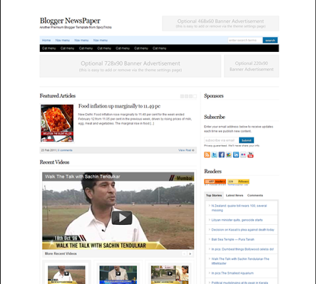 blogger news paper blogger template