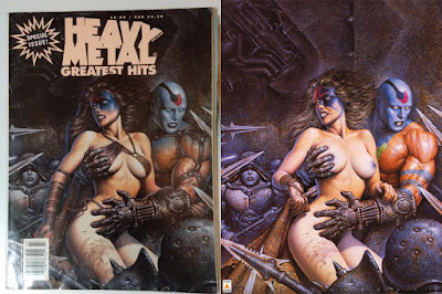 Oscar Chichoni illustraton censored and uncensored of Heavy Metal Magazine Greatest Hits