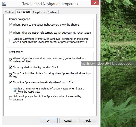 Cara Membuka Apps View (All Apps) secara Otomatis saat Masuk ke Start Screen di Windows 8.1 2