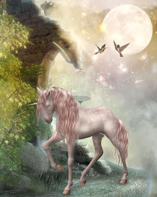 Unicornio en la luna - Imágenes fantásticas para compartir -Moon and unicorn