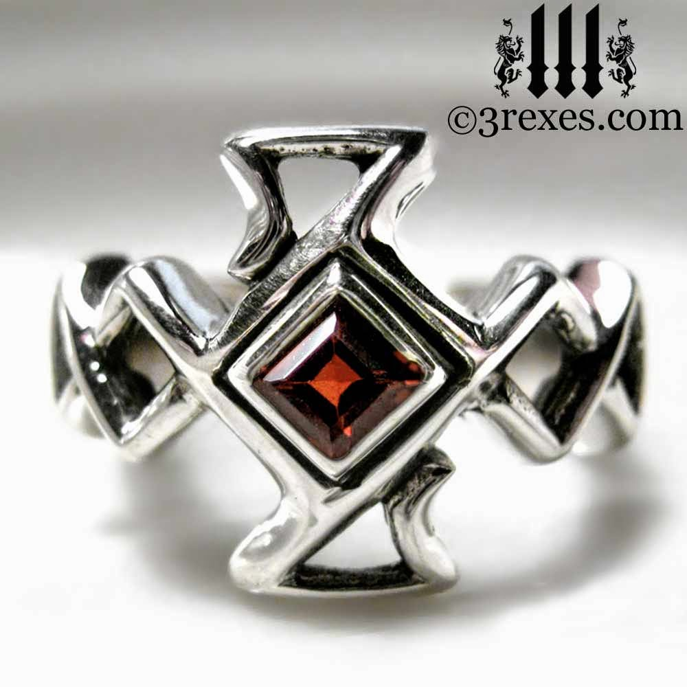 mens gothic ring sterling silver medieval celtic cross garnets