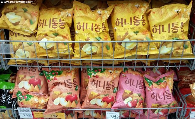 Patatillas coreanas con miel y manzana o fresa