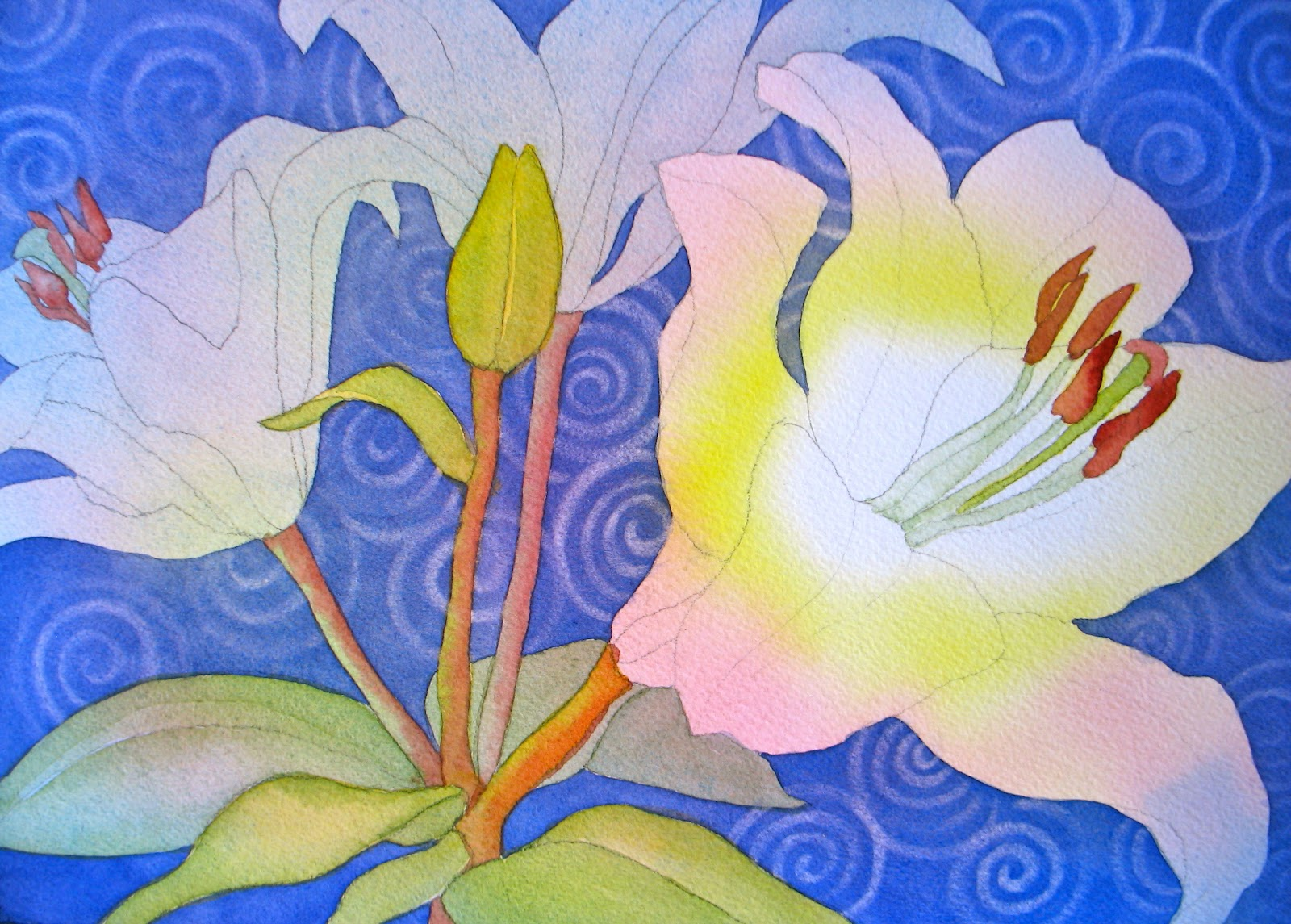 the painted prism watercolor workshop painting white flowers with