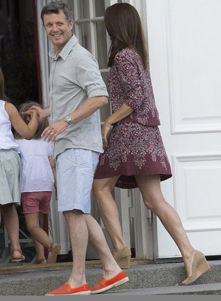 The Danish royal family poses for casual photos outside their summer home at Grasten Palace
