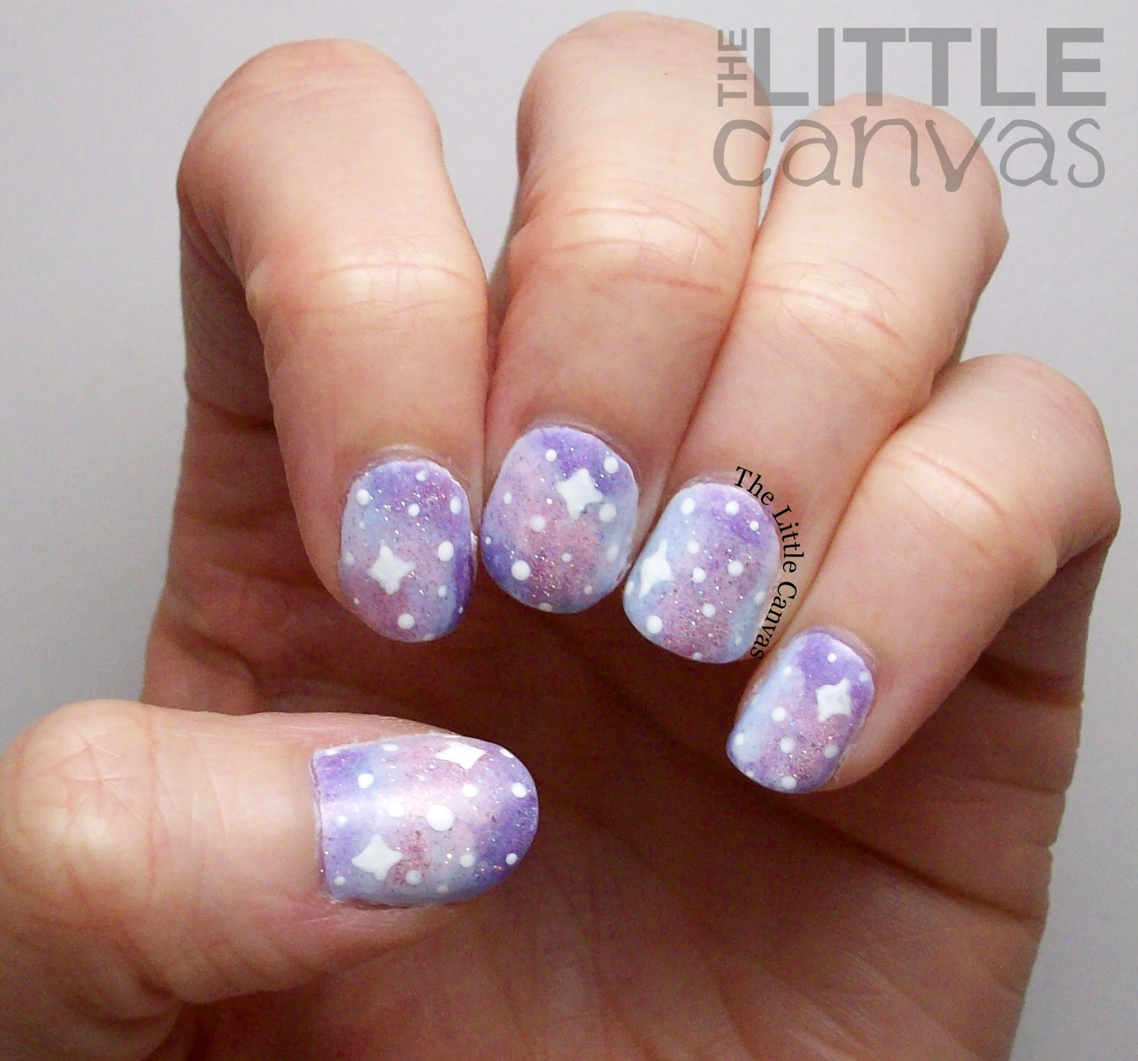 Pastel-ish Galaxy Nails - The Little Canvas