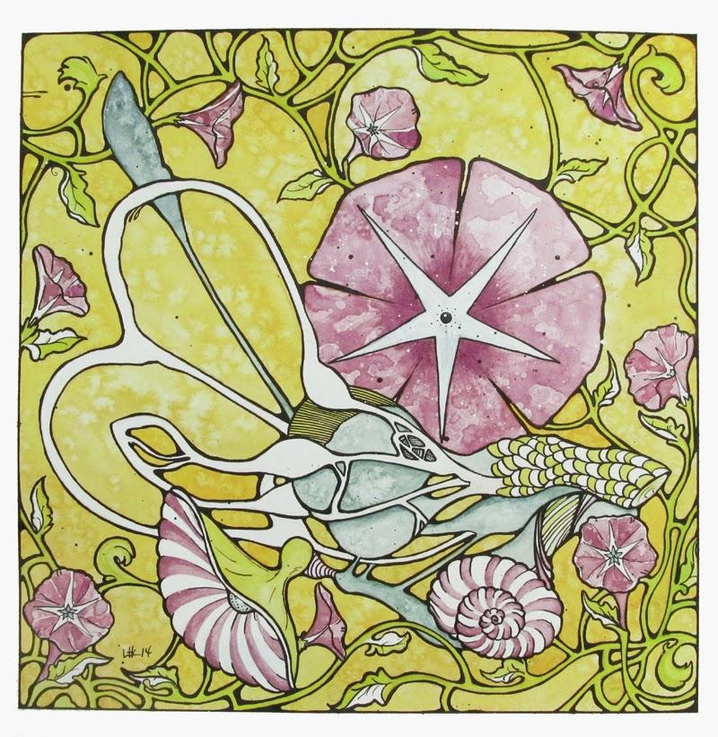 ©2014 Lauren T Kistner, Eardrum, Watercolor and Ink