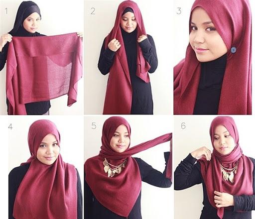 contoh tutorial hijab segi empat kreasi demam isu terbaru 2017/2018