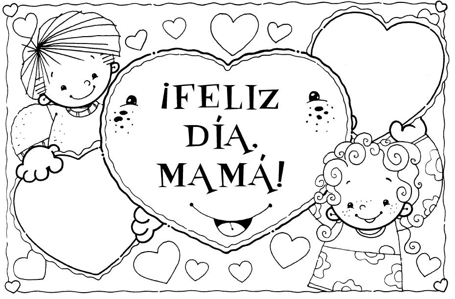 feliz dia de la madre coloring pages