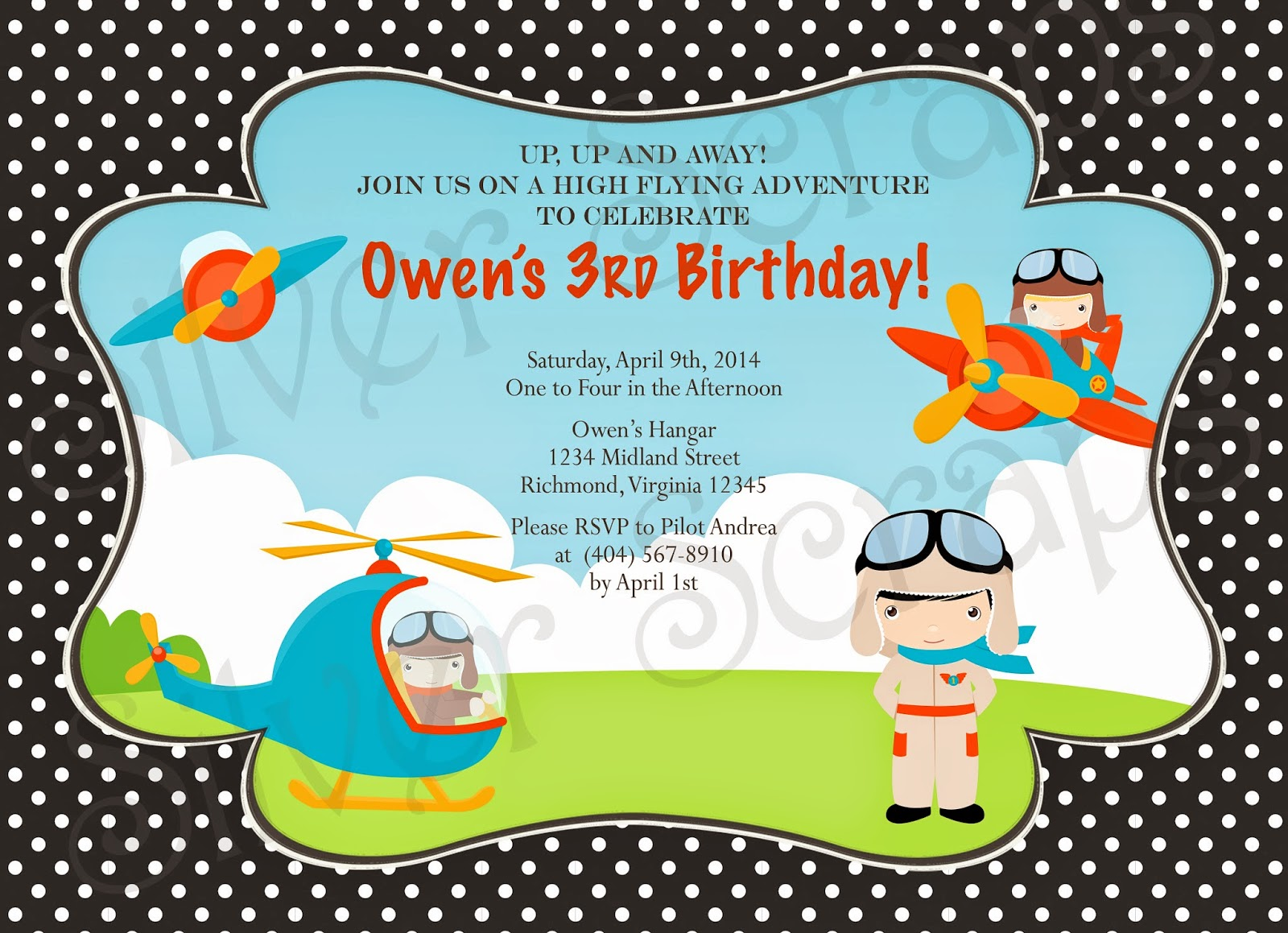 Up, Up, and Away - Custom Digital Airplane Birthday Invitation -Boy Plane Fly Flying Helicopter Pilot Red Blue Yellow - 5 Printable Designs aviator blue chevron red yellow orange helicopter goggles black polka dots
