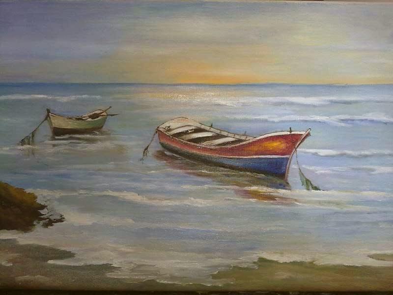 dos barcas en el mar con amanecer