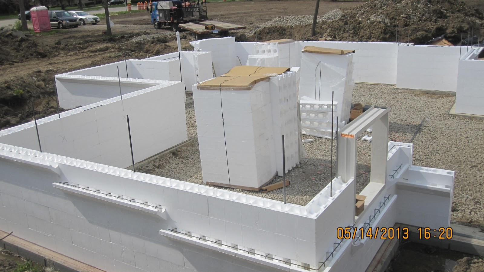 Energy efficient building network installing insulating for Icf basement construction