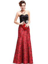 Red and Black Evening Dress