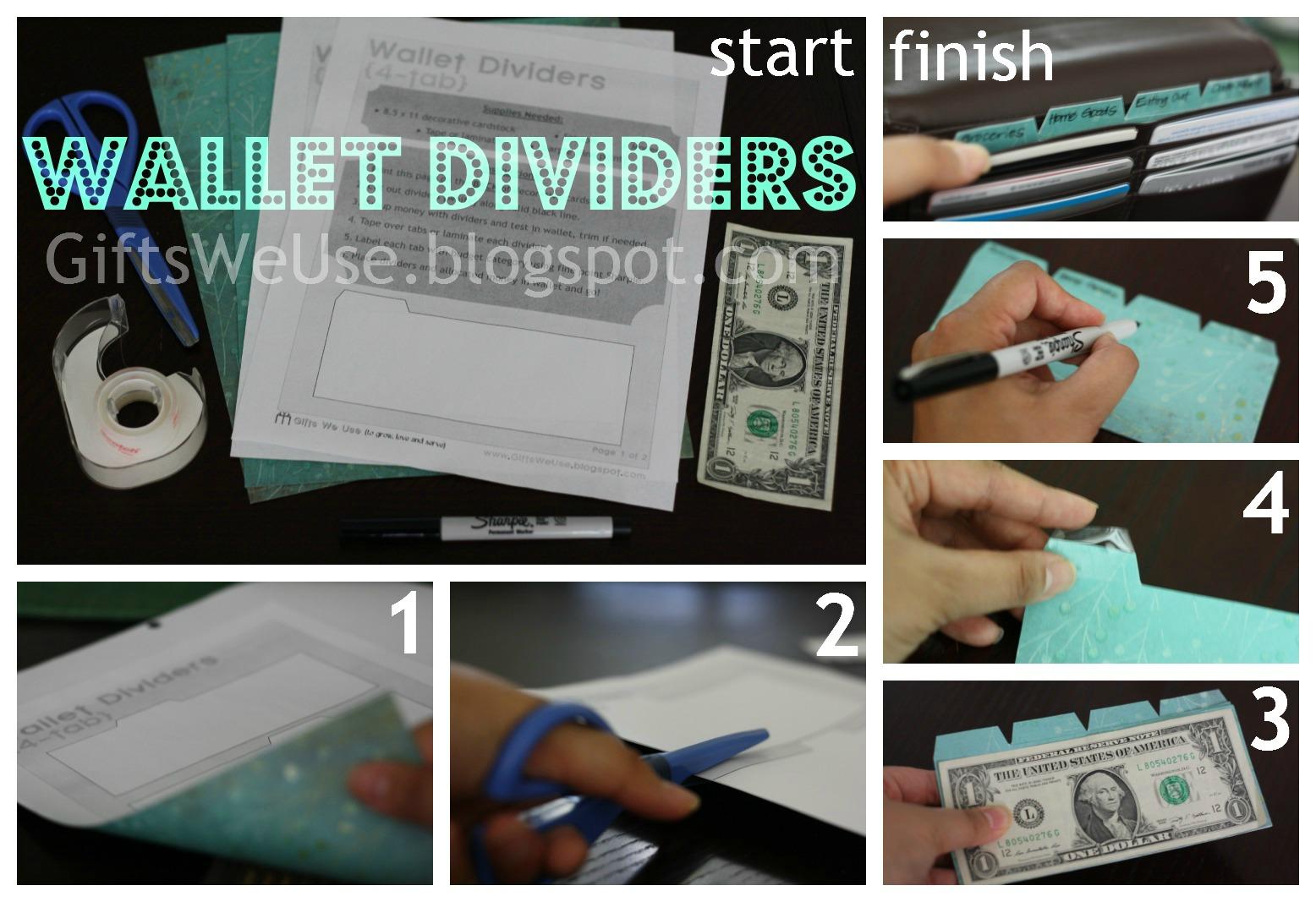 gifts we use  wallet dividers  u0026 printable