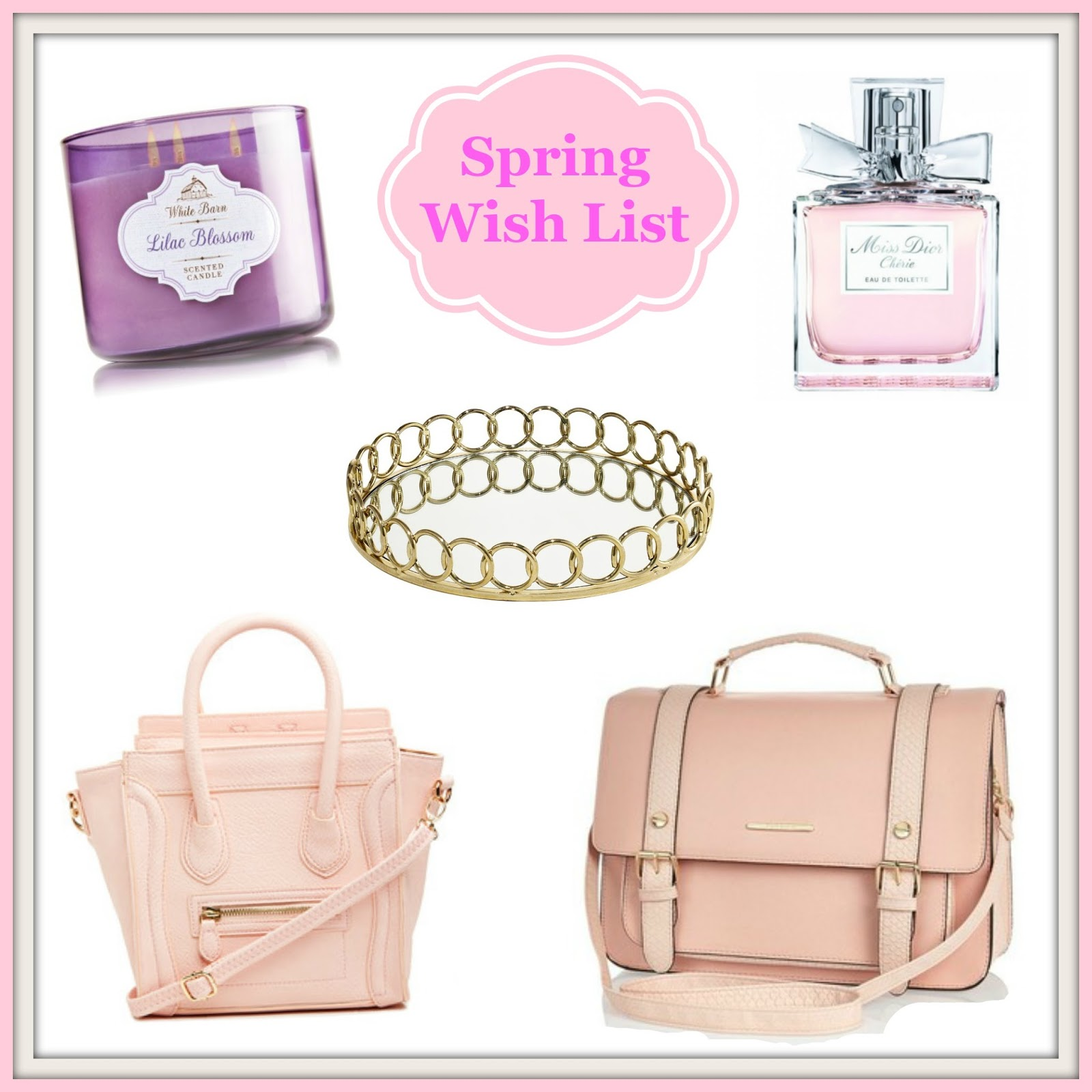 Bath & Body Works Lilac Blossom, Miss Dior Perfume, Gold Perfume Tray, Dailylook Mini Structured Pink Handbag, River Island Satchel