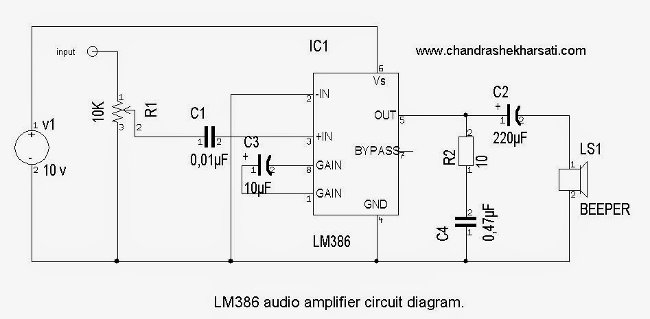 how to make simple LM 386 audio amplifier circuit Chandra