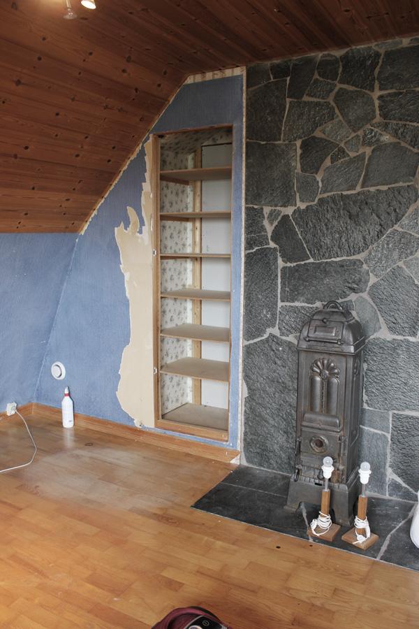 Kamin på övervåningen, renovering vid kamin, renovera arbetsrum, ateljé