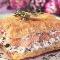Salmon with Cucumber-Dill Cream Napoleons