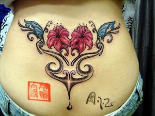 Lower Back Tattoos for Girls - Butterfly with Flower Tattoo