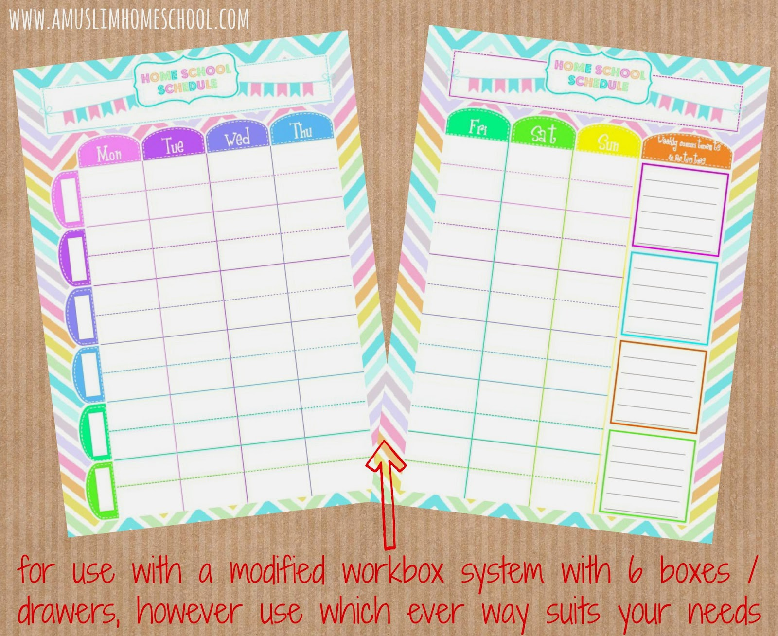 free home school weekly schedule printable