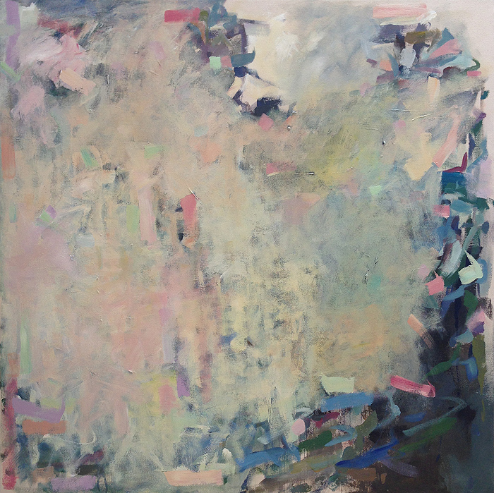 Abstract painting by Karina Allrich, titled Waiting for Bloom. Acrylic on canvas, 48x48 inches.