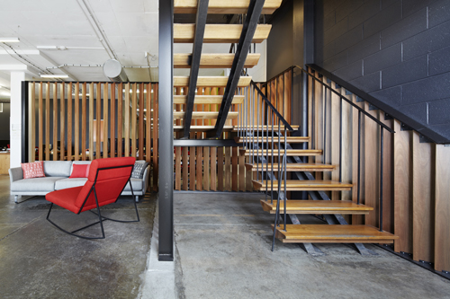 Open plan office in warehouse style building in Fitzroy