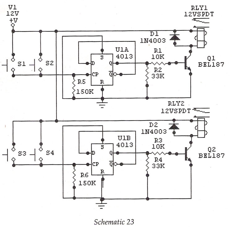 circuits apmilifier  cd4013 based staircase switch circuit