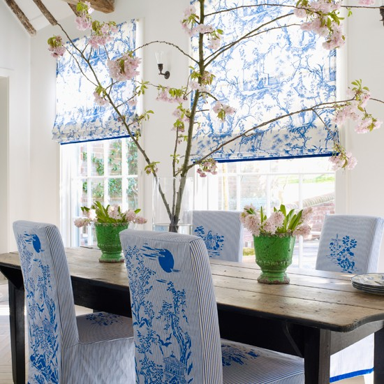 chinoiserie chic: blue and white dining room diy
