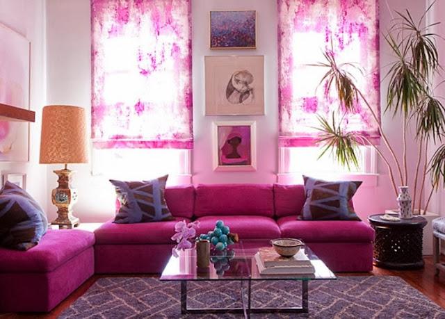 interior vintage en tonos rosados