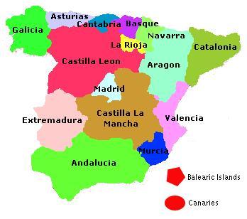 Espagne Carte Departement Région   Carte Espagne Ville Région