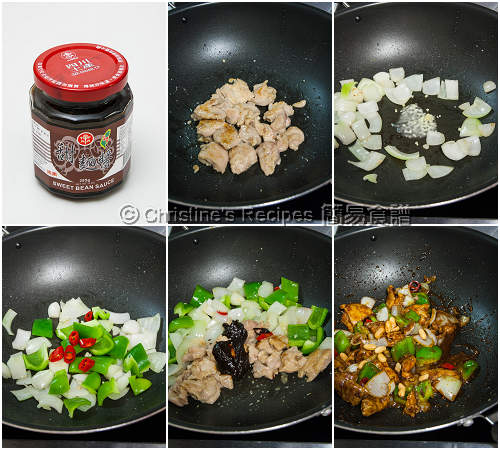 醬爆雞丁製作圖 Stir Fried Chicken with Sweet Bean Sauce Procedures