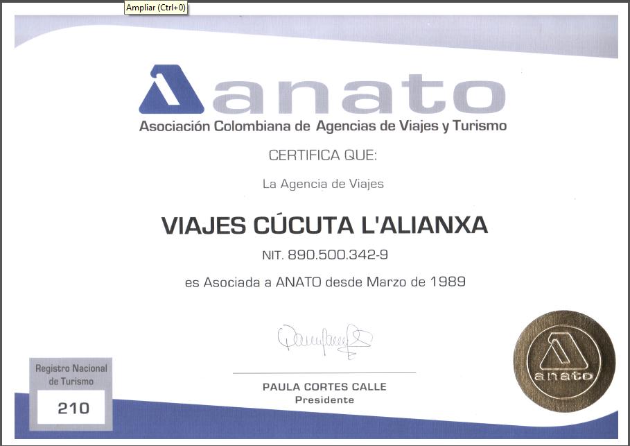 Certificado de Anato